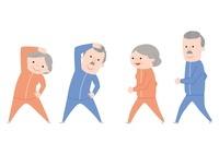 体操をする老夫婦・ウォーキングをする老夫婦