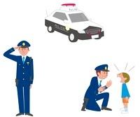 パトカー、警察官敬礼、仕事シーン 10423000357| 写真素材・ストックフォト・画像・イラスト素材|アマナイメージズ