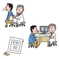 聴診器をあてられる男性、先生の話を聞く男性、カプセル