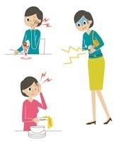 虫歯・頭痛・腹痛を感じる女性