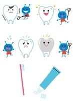歯と虫歯菌、歯磨きアイコン 10423000382| 写真素材・ストックフォト・画像・イラスト素材|アマナイメージズ