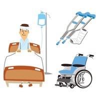 男性入院(ベッド)、ギブスと松葉杖、車いす