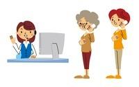 オペレーター、電話している女性、電話しているシニア女性