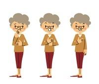 悩むシニア女性、驚くシニア女性、安心するシニア女性 10423000393| 写真素材・ストックフォト・画像・イラスト素材|アマナイメージズ