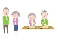 会話中の老夫婦、食事中の老夫婦