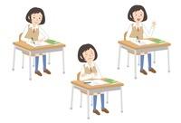 授業を受ける女子学生3パターン