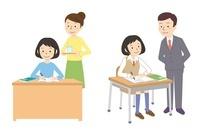 家で勉強、授業を受ける女子学生