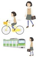 通学する女子学生(徒歩・自転車・電車)