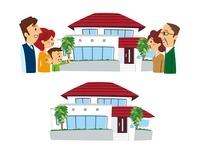 家と安心した二世帯家族、二世帯住宅