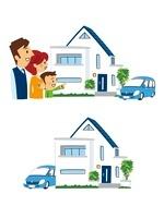 家と安心した親子、モダン住宅 10423000426| 写真素材・ストックフォト・画像・イラスト素材|アマナイメージズ