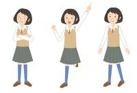 女子学生ポーズ3パターン