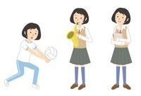 運動をする・楽器を吹く・ノートを持つ女子学生