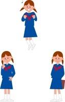 女子中学生ポーズ3パターン
