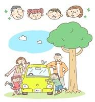 車と家族の楽しいイメージ、顔アイコン