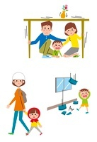 机の下に隠れる親子、地震災害から逃げる子ども・親子