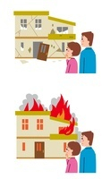 地震・火災を見て悲しげな夫婦 10423000473| 写真素材・ストックフォト・画像・イラスト素材|アマナイメージズ