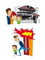 火災保険(全焼した家の前で悲しむ家族、避難) 10423000489| 写真素材・ストックフォト・画像・イラスト素材|アマナイメージズ