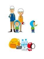 被災者(家族、子供指さし)、避難リュックとグッズ