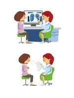 婦人科診療/ミドル女性患者と女医(レントゲン診察、安心)