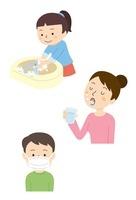 手洗い・マスクをする子ども、うがいをする大人