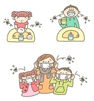 手洗いうがいをしている子ども、マスクをする親子