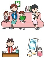 病院の待合室、子ども、受付、薬