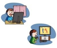 夜更かしをする子ども、パソコン、ゲーム、不眠  10423000552| 写真素材・ストックフォト・画像・イラスト素材|アマナイメージズ