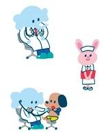 動物のお医者さん、看護師さん、診察