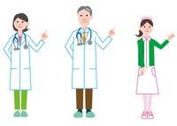 案内をする医者、女医、看護師