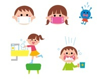 うがい手洗い、マスクをする男の子と女の子 10423000568| 写真素材・ストックフォト・画像・イラスト素材|アマナイメージズ