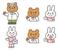 クマのお医者さん、うさぎの看護婦さん 10423000578| 写真素材・ストックフォト・画像・イラスト素材|アマナイメージズ