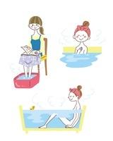 足湯、浴槽につかる女性
