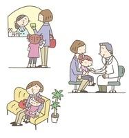 待合室、診察、受付、子ども、女性