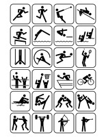 オリンピック競技のスポーツアイコン 白地