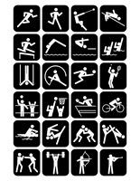 オリンピック競技のスポーツアイコン 黒地
