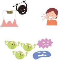 虫歯と虫歯菌、虫歯に痛む子供、善玉菌と悪玉菌 10423000615| 写真素材・ストックフォト・画像・イラスト素材|アマナイメージズ