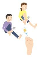 水虫の足、水虫に悩む男性と女性
