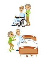 高齢者夫婦の介護/シニア男性(車いす、ベッド補助) 10423000623  写真素材・ストックフォト・画像・イラスト素材 アマナイメージズ