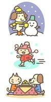 冬の動物キャラ(雪だるま、スケート、こたつでミカン)