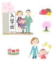 春の家族(入学式、ランドセル、桜、お母さんと女の子)