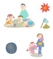 夏の家族(海で砂遊び、浴衣、花火)