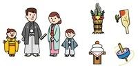お正月の家族、門松、羽子板、鏡餅、コマ