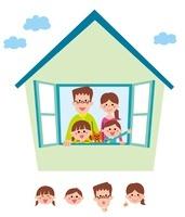 窓から顔を出す家族(父、母、姉、弟、ネコ)