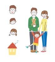 家族(父、母、息子、犬)