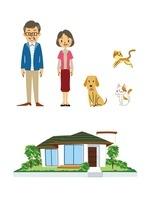 家族(年配夫婦)、ペット(犬、猫)、家