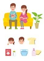 ソファに座る若い夫婦(妊婦)、アイコン