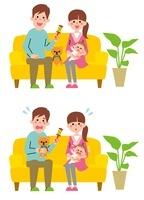 赤ちゃんをあやす若い夫婦 2パターン
