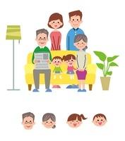 ソファに集まる家族、顔アイコン