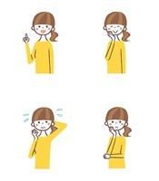 女性表情4パターン