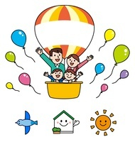 気球に乗った家族・アイコン